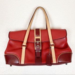 Vintage red leather Coach mini bag